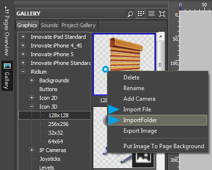 Editor window Gallery Graphics Sounds Import.png